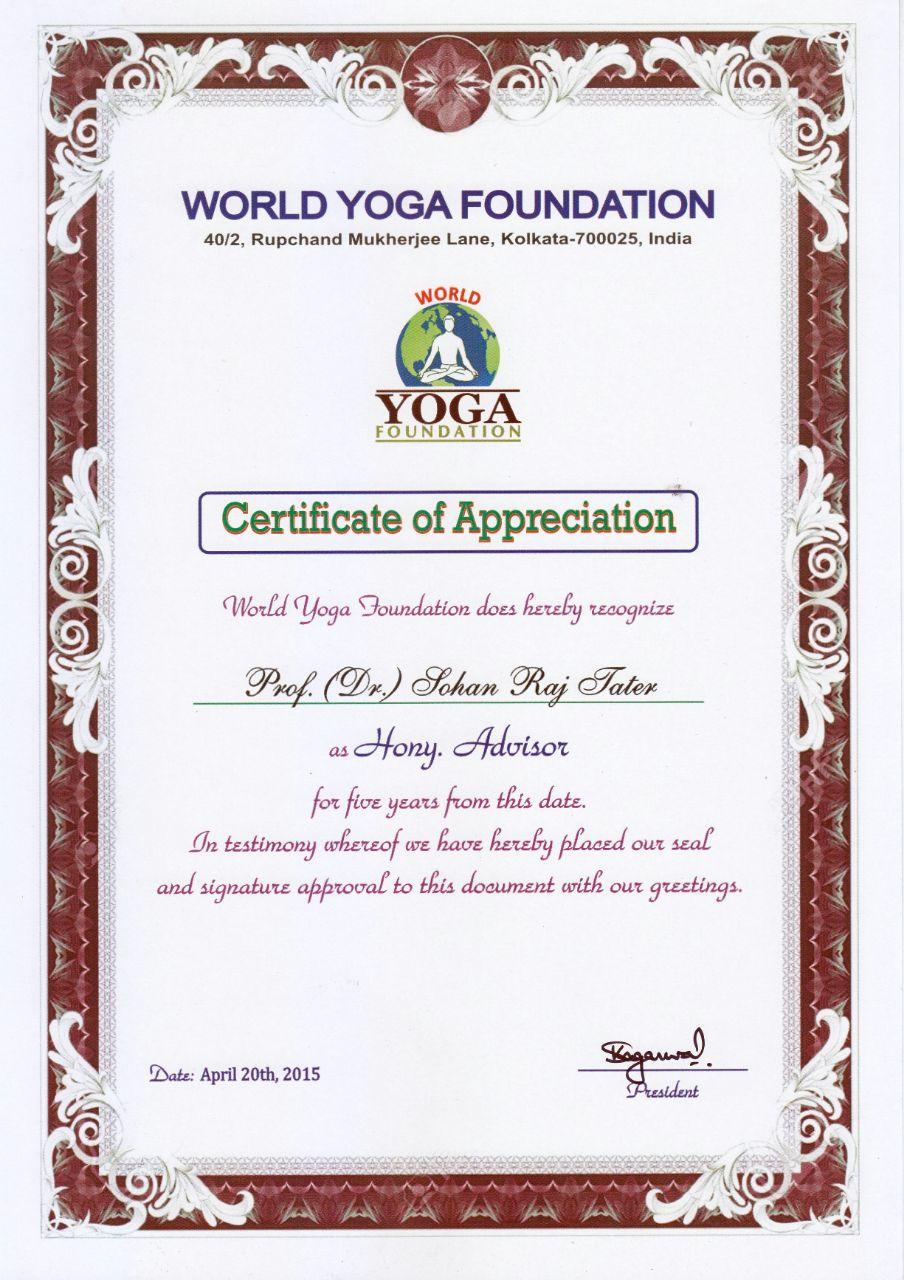 Profdr sohan raj tater e knowledge museum 98 patron world yoga foundation letter stopboris Images